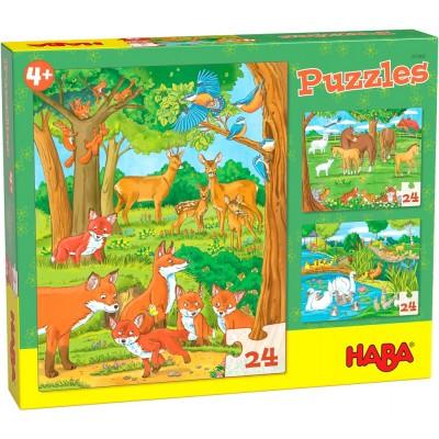 3 Puzzles Família de Animais (24 peças)
