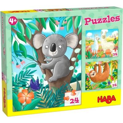 3 Puzzles Animais Exóticos (24 peças)