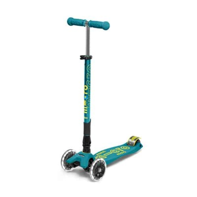 Trotinete Maxi Micro Deluxe Petrol LED Foldable 5-12 anos