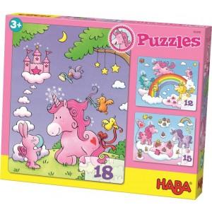 3 Puzzles Unicórnio (12, 15 e 18p.)