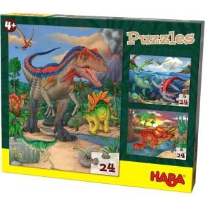 3 Puzzles Dinossauros (24 peças)