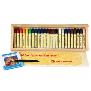 Caixa madeira 24 Lápis Cera de Abelha